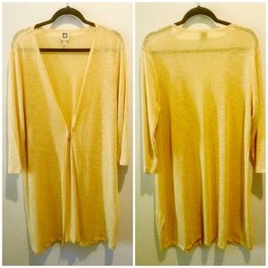 Anne Klein Yellow Long Cardigan XL